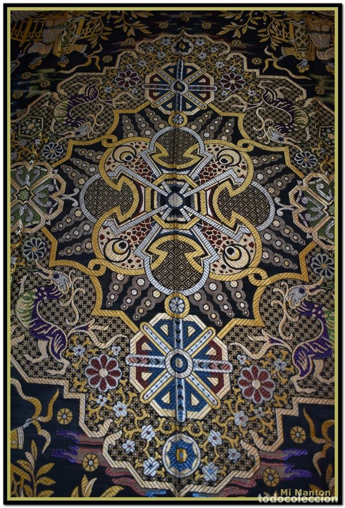 Antigüedades: Maravillosa colcha mantón adamascado Art decó. Impresionante dibujo chinesco-oriental. Reversible - Foto 3 - 142098634