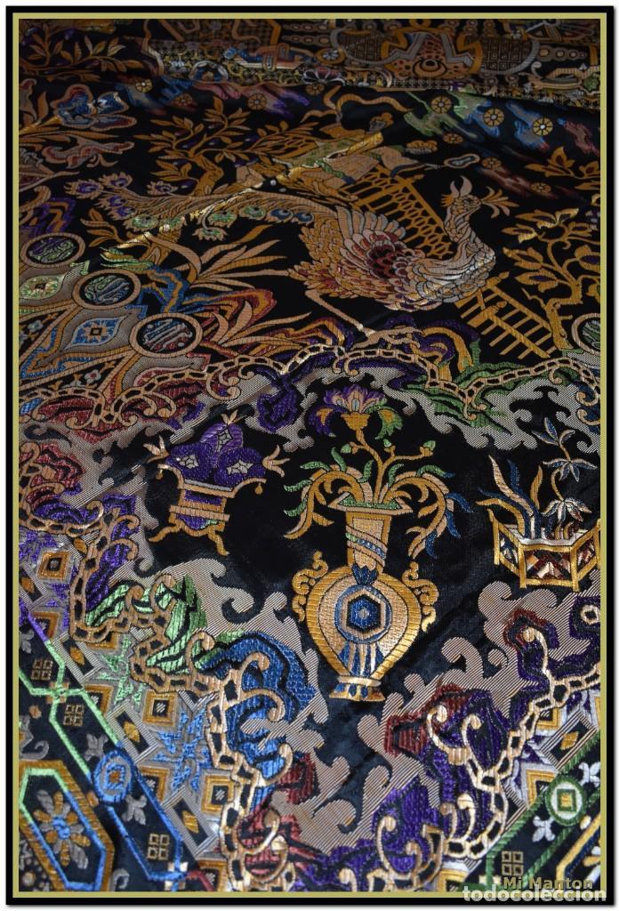 Antigüedades: Maravillosa colcha mantón adamascado Art decó. Impresionante dibujo chinesco-oriental. Reversible - Foto 4 - 142098634