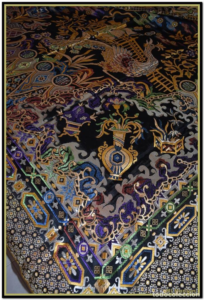 Antigüedades: Maravillosa colcha mantón adamascado Art decó. Impresionante dibujo chinesco-oriental. Reversible - Foto 5 - 142098634