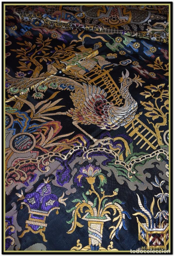 Antigüedades: Maravillosa colcha mantón adamascado Art decó. Impresionante dibujo chinesco-oriental. Reversible - Foto 6 - 142098634