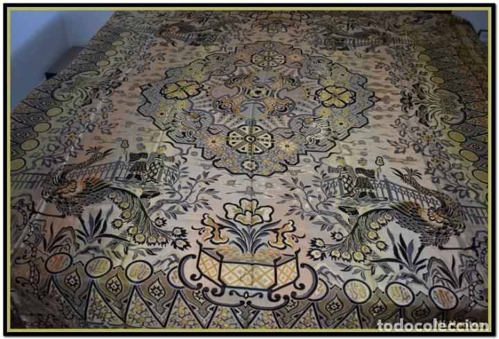 Antigüedades: Maravillosa colcha mantón adamascado Art decó. Impresionante dibujo chinesco-oriental. Reversible - Foto 7 - 142098634