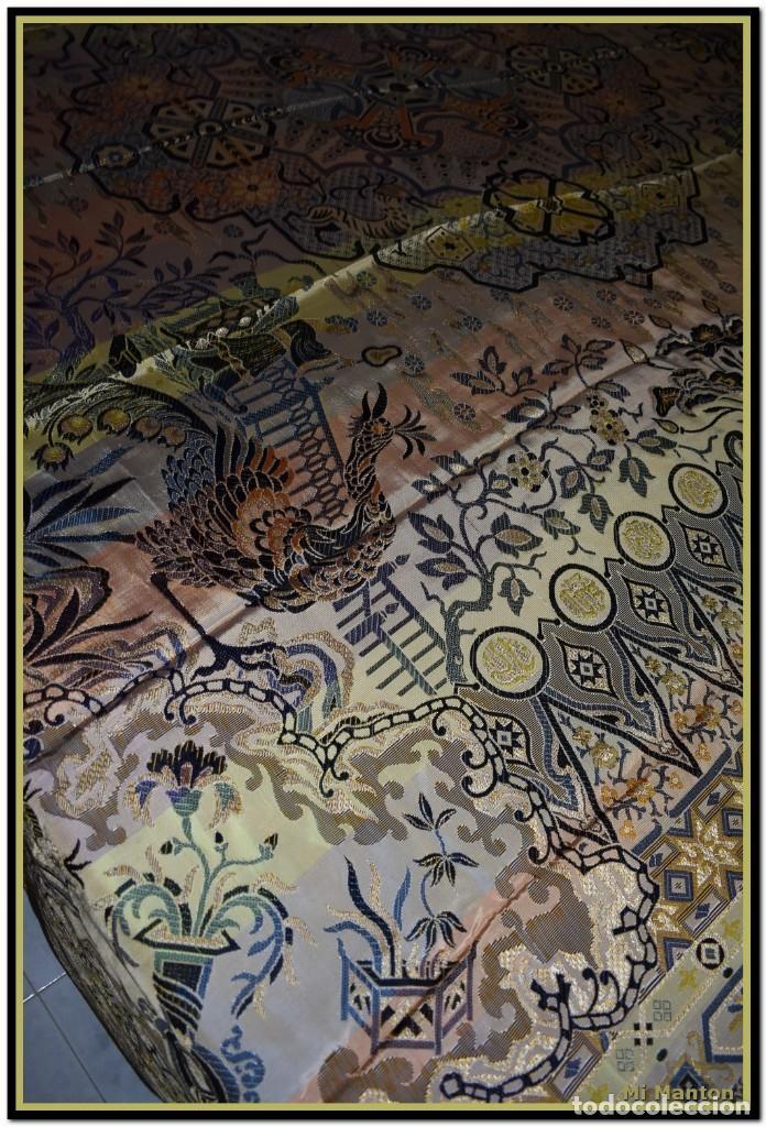 Antigüedades: Maravillosa colcha mantón adamascado Art decó. Impresionante dibujo chinesco-oriental. Reversible - Foto 8 - 142098634