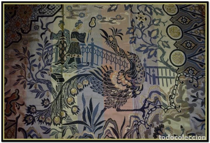 Antigüedades: Maravillosa colcha mantón adamascado Art decó. Impresionante dibujo chinesco-oriental. Reversible - Foto 9 - 142098634