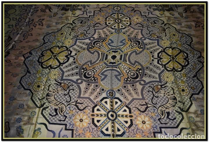 Antigüedades: Maravillosa colcha mantón adamascado Art decó. Impresionante dibujo chinesco-oriental. Reversible - Foto 10 - 142098634