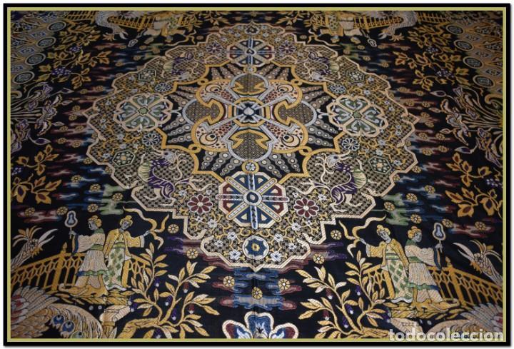 Antigüedades: Maravillosa colcha mantón adamascado Art decó. Impresionante dibujo chinesco-oriental. Reversible - Foto 11 - 142098634