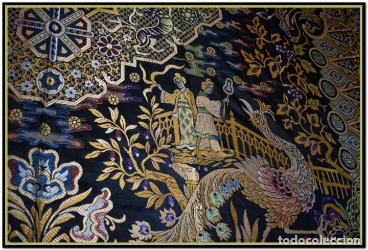 Antigüedades: Maravillosa colcha mantón adamascado Art decó. Impresionante dibujo chinesco-oriental. Reversible - Foto 2 - 142098634