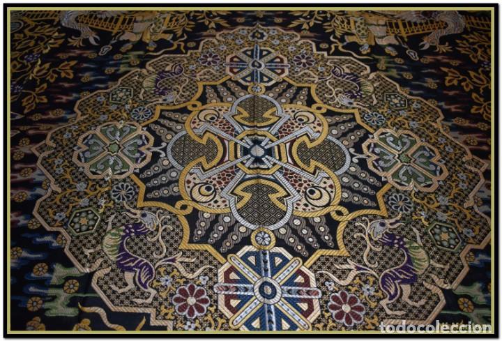 Antigüedades: Maravillosa colcha mantón adamascado Art decó. Impresionante dibujo chinesco-oriental. Reversible - Foto 12 - 142098634