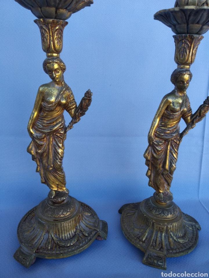 DOS CANDELABROS BRONCE FORMA MUJER. 33 CENTIMETROS (Antigüedades - Iluminación - Candelabros Antiguos)