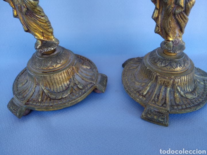 Antigüedades: DOS CANDELABROS BRONCE FORMA MUJER. 33 CENTIMETROS - Foto 7 - 142105681