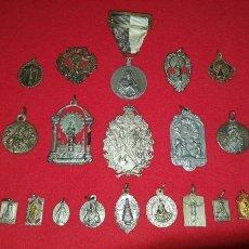 Antigüedades: LOTE DE 19 MEDALLAS RELIGIOSAS ANTIGUAS. Lote 142107633