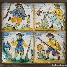 Antigüedades: 4 AZULEJOS. CERÁMICA CATALANA ESMALTADA. PINTADOS A MANO. CAZADORES. SIGLO XX. . Lote 142126818