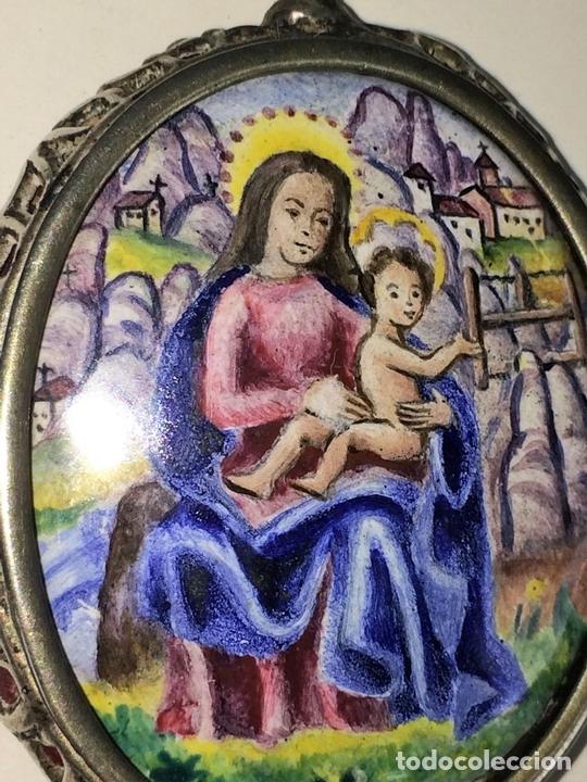 Antigüedades: RELICARIO-MEDALLÓN. IMAGEN DE LA VIRGEN DE MONTSERRAT. PLATA. ESMALTE. ESPAÑA. XVIII-XIX - Foto 2 - 142156254