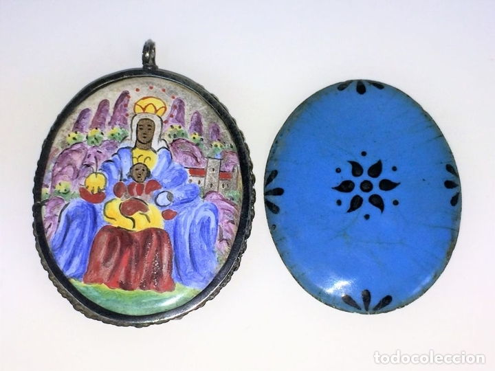 Antigüedades: RELICARIO-MEDALLÓN. VIRGEN DE MONTSERRAT. PLATA. COBRE ESMALTADO. ESPAÑA. XVIII-XIX - Foto 6 - 142170426