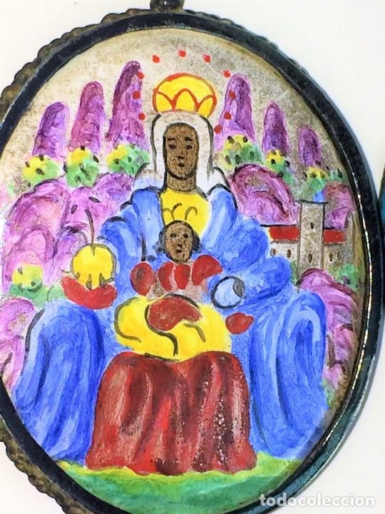 Antigüedades: RELICARIO-MEDALLÓN. VIRGEN DE MONTSERRAT. PLATA. COBRE ESMALTADO. ESPAÑA. XVIII-XIX - Foto 7 - 142170426