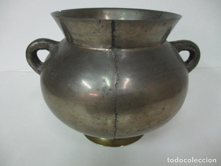 Antigüedades: Gran Olla Antigua - con Salvamanteles - Bronce - Patina Original - S. XVIII - Foto 2 - 142181238