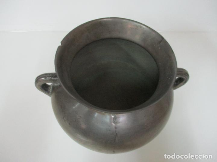 Antigüedades: Gran Olla Antigua - con Salvamanteles - Bronce - Patina Original - S. XVIII - Foto 4 - 142181238