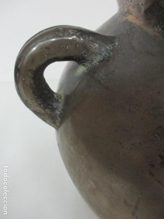 Antigüedades: Gran Olla Antigua - con Salvamanteles - Bronce - Patina Original - S. XVIII - Foto 6 - 142181238
