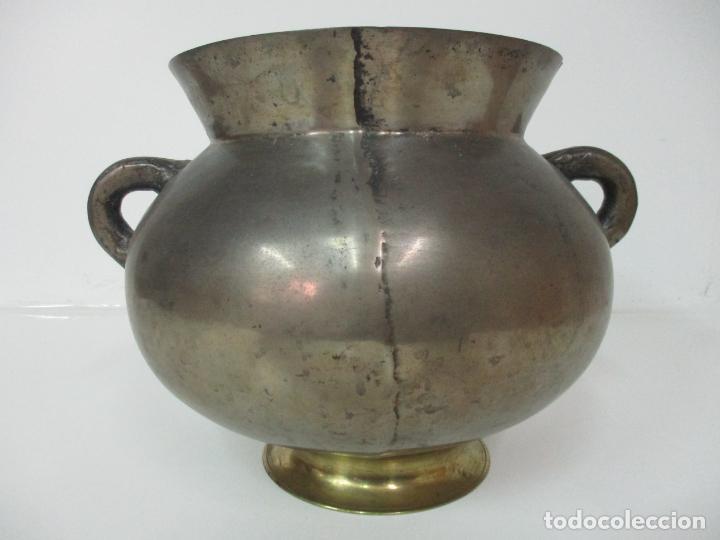 Antigüedades: Gran Olla Antigua - con Salvamanteles - Bronce - Patina Original - S. XVIII - Foto 12 - 142181238