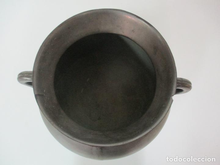 Antigüedades: Gran Olla Antigua - con Salvamanteles - Bronce - Patina Original - S. XVIII - Foto 16 - 142181238