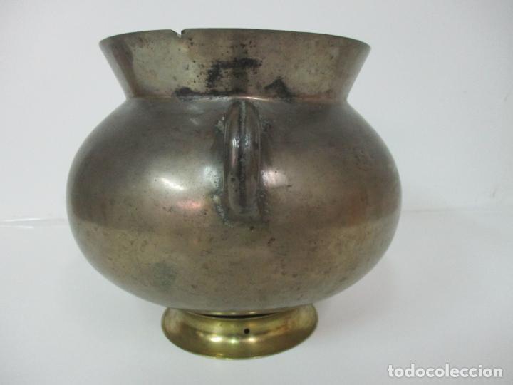 Antigüedades: Gran Olla Antigua - con Salvamanteles - Bronce - Patina Original - S. XVIII - Foto 18 - 142181238