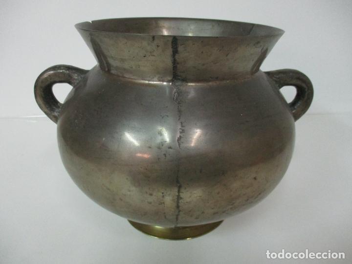 Antigüedades: Gran Olla Antigua - con Salvamanteles - Bronce - Patina Original - S. XVIII - Foto 25 - 142181238