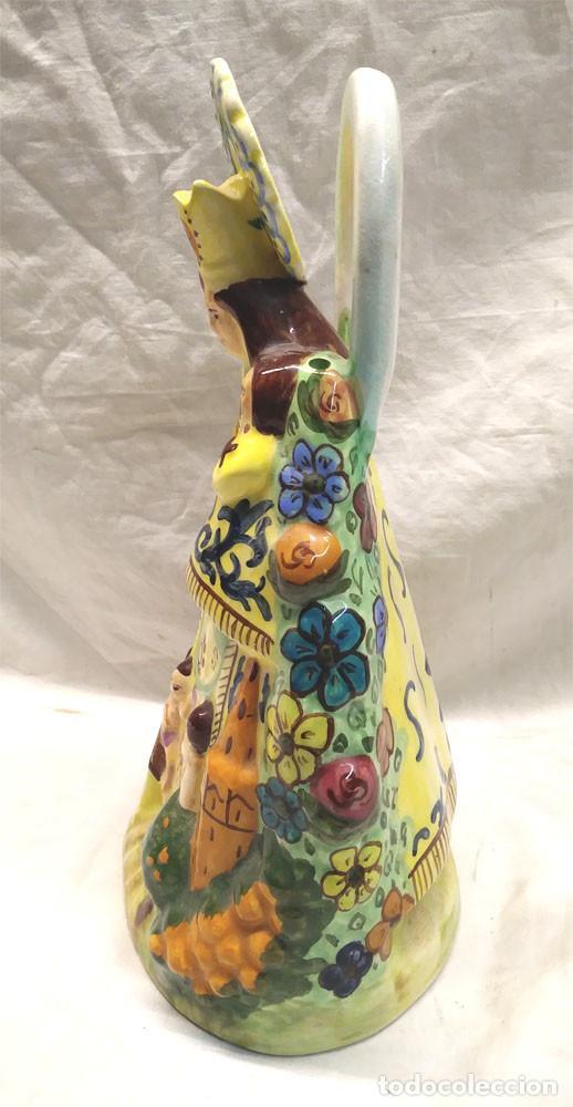 Antigüedades: Virgen de los Desamparados Valencia años 60, Botijo Porcelana Manises. Med. 28 cm altura - Foto 4 - 142181294