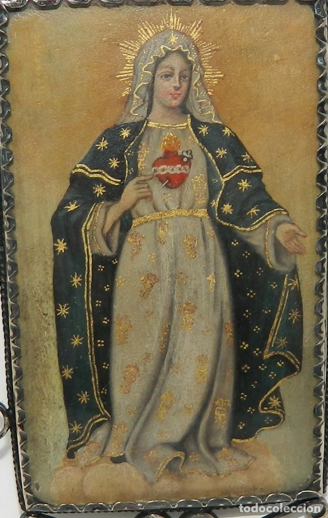 Antigüedades: Antiguo Relicario Lámina Cobre Virgen María Sagrado Corazón Marco Plata - Foto 3 - 142213602