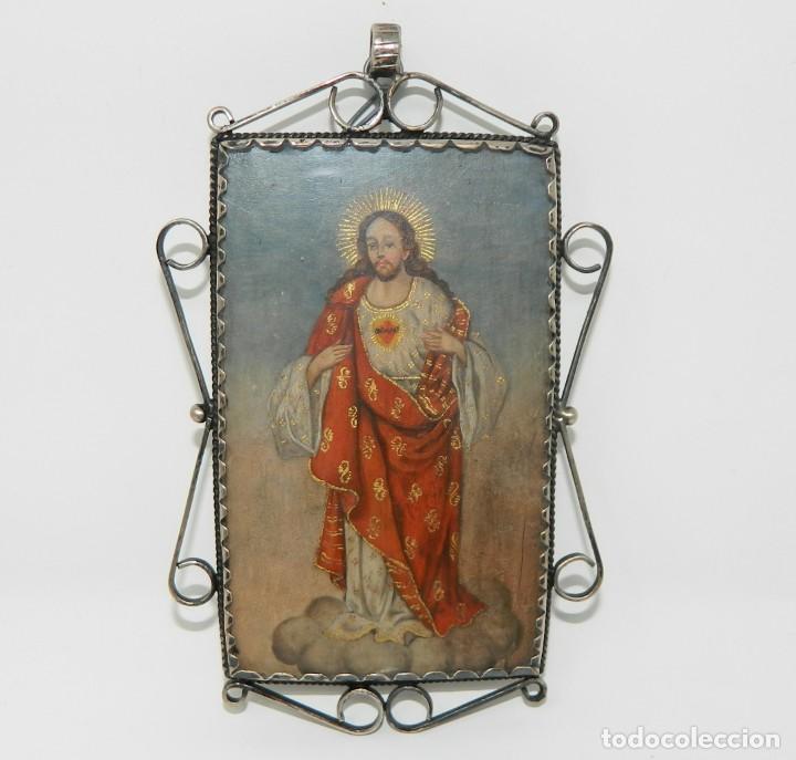 Antigüedades: Antiguo Relicario Lámina Cobre Virgen María Sagrado Corazón Marco Plata - Foto 4 - 142213602