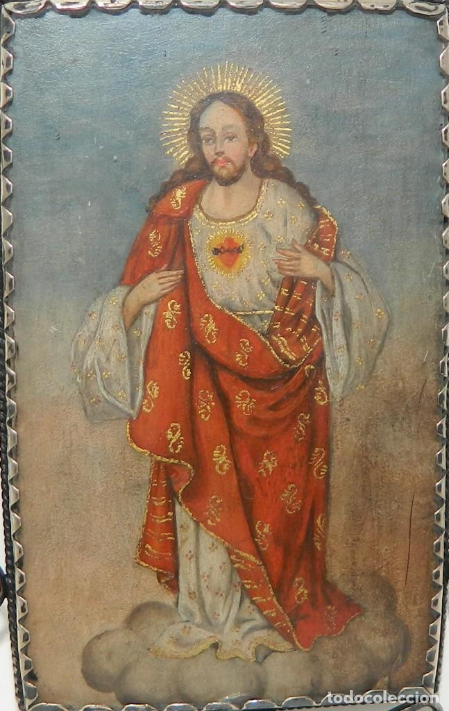 Antigüedades: Antiguo Relicario Lámina Cobre Virgen María Sagrado Corazón Marco Plata - Foto 5 - 142213602