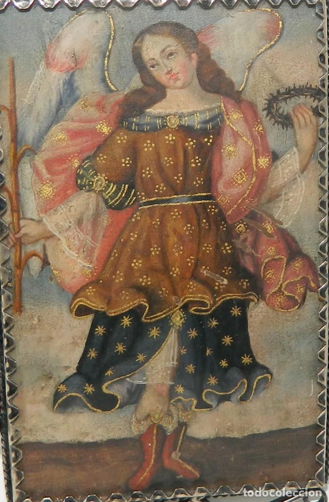 Antigüedades: Antiguo Relicario Lámina Cobre Jesús y Arcángel Marco Plata - Foto 3 - 142213630