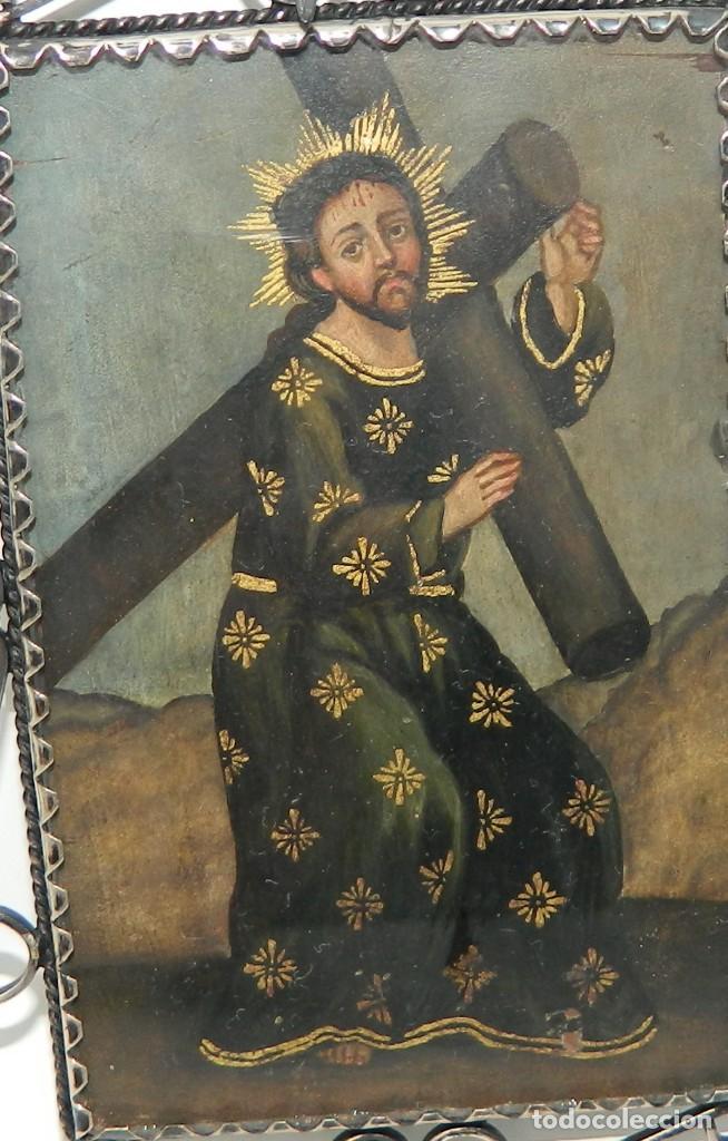 Antigüedades: Antiguo Relicario Lámina Cobre Jesús y Arcángel Marco Plata - Foto 5 - 142213630