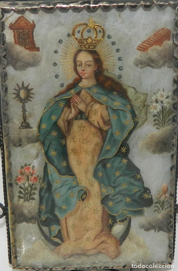 Antigüedades: Antiguo Relicario Madreperla Virgen María y Arcángel Marco Plata - Foto 3 - 142213666
