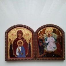 Antigüedades: DÍPTICO EN ESMALTE Y TEMA RELIGIOSO.. Lote 142239782