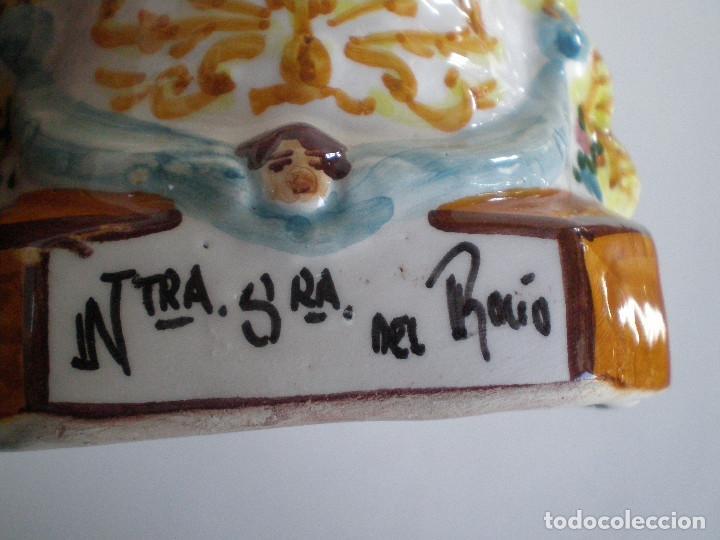 Antigüedades: VIRGEN DEL ROCIO CERAMICA DE TRIANA // POLICROMADA Y VIDRIADA ALFARERIA ARTESANAL SEVILLA NTRA. SRA - Foto 9 - 142266578