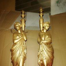 Antigüedades: ESPECTACULAR PAREJA DE PORTAVELAS CANDELABROS ESCULTURA BRONCE FRANCESES SIGLO XIX. Lote 142275686