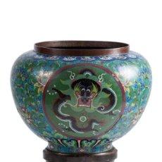 Antigüedades: MACETA CLOISSONE CHINA SIGLO XIX. Lote 142277638