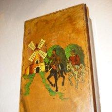 Antigüedades: CAJA DE MADERA, TABAQUERA, CON DECORACION EL QUIJOTE. Lote 142288214