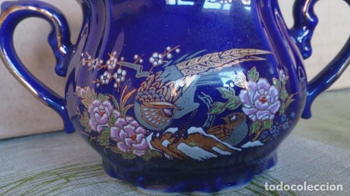 Antigüedades: Juego cafè japonès eiho azul ,para 5 personas - Foto 14 - 52749074