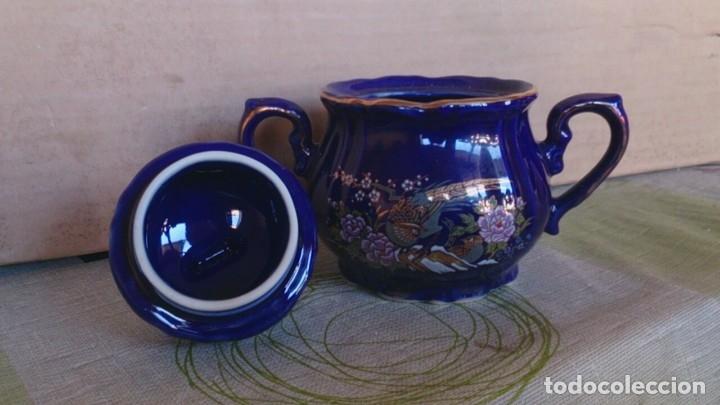 Antigüedades: Juego cafè japonès eiho azul ,para 5 personas - Foto 15 - 52749074