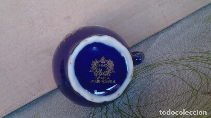 Antigüedades: Juego cafè japonès eiho azul ,para 5 personas - Foto 21 - 52749074