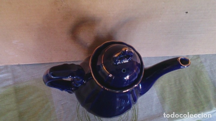 Antigüedades: Juego cafè japonès eiho azul ,para 5 personas - Foto 24 - 52749074