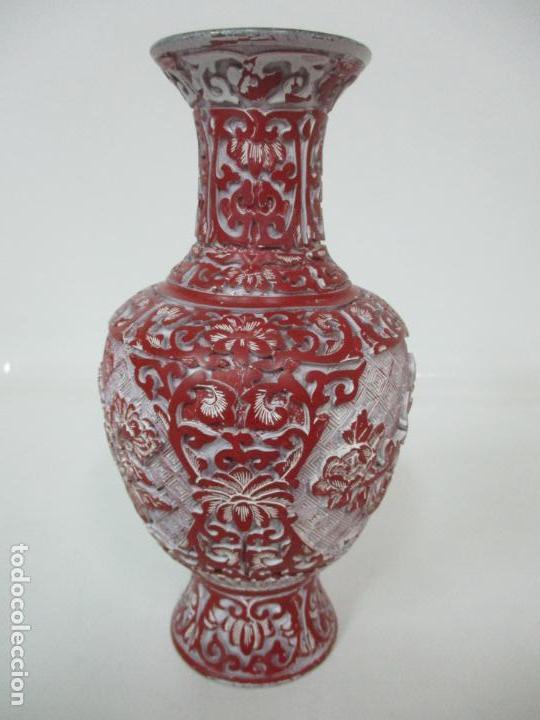 Antigüedades: Jarrón Chino - Oriental - China - Laca Roja de Cinabrio - Interior Azul - Foto 6 - 142425878