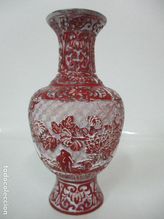 Antigüedades: Jarrón Chino - Oriental - China - Laca Roja de Cinabrio - Interior Azul - Foto 9 - 142425878