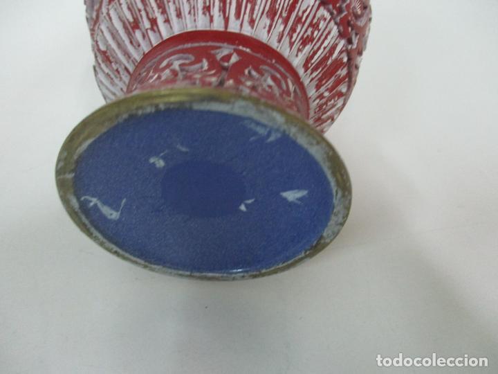 Antigüedades: Jarrón Chino - Oriental - China - Laca Roja de Cinabrio - Interior Azul - Foto 11 - 142425878