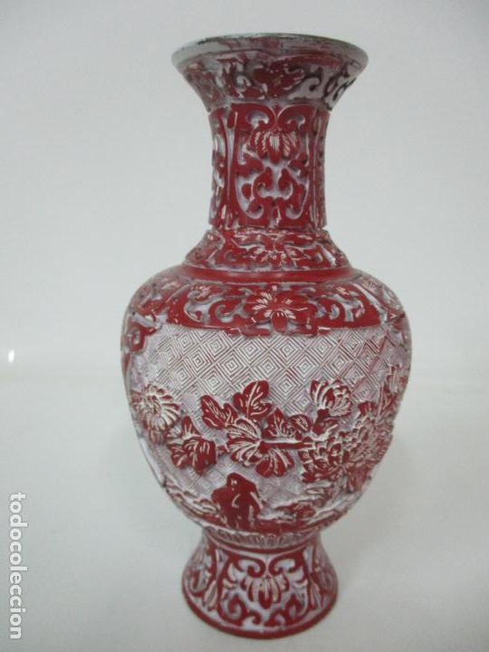 Antigüedades: Jarrón Chino - Oriental - China - Laca Roja de Cinabrio - Interior Azul - Foto 12 - 142425878