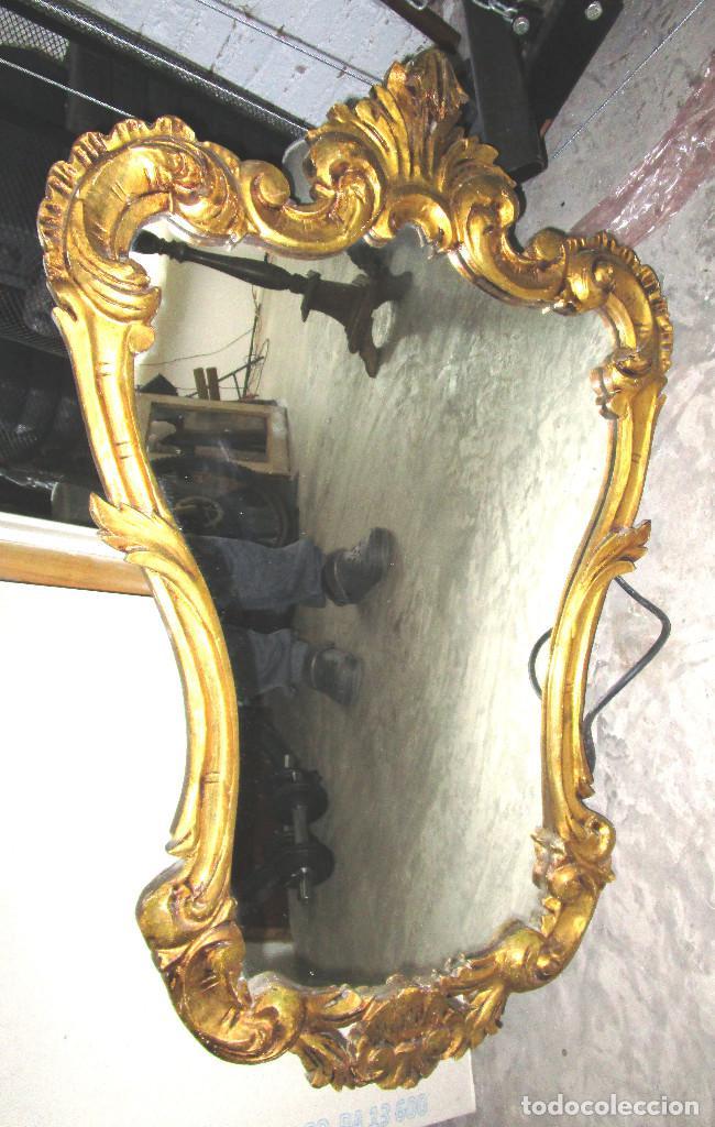 Antigüedades: GRAN ESPEJO CORNUCOPIA ANTIGUO CONCHA BARROCA 95X65CM MADERA AL PAN DE ORO - Foto 2 - 142456742