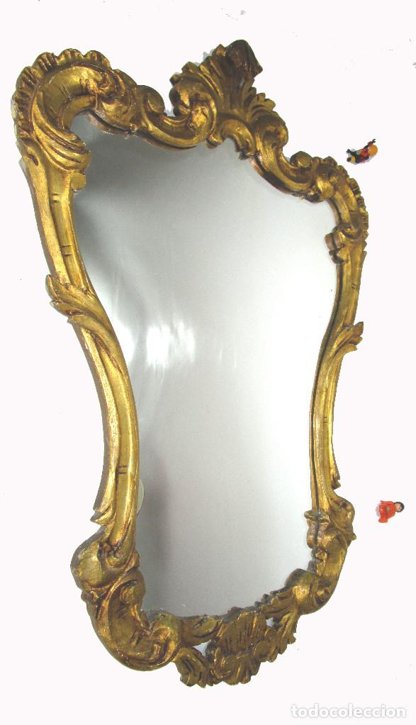Antigüedades: GRAN ESPEJO CORNUCOPIA ANTIGUO CONCHA BARROCA 95X65CM MADERA AL PAN DE ORO - Foto 3 - 142456742