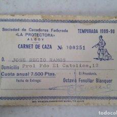 Antigüedades: CARNET DE CAZA , ALCOY 1989 - 90. Lote 142460282