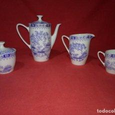 Antigüedades: JUEGO DE CAFÉ SIN TAZAS MARCA PONTESA IRONSTONE CHINA BLAU. Lote 142481886