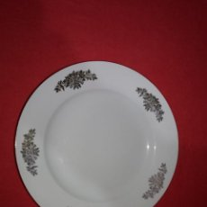 Oggetti Antichi: PLATO ANTIGUO LLANO CON DECORACIÓN Y BORDE DORADO , ROYAL CHINA, VIGO. Lote 142482918